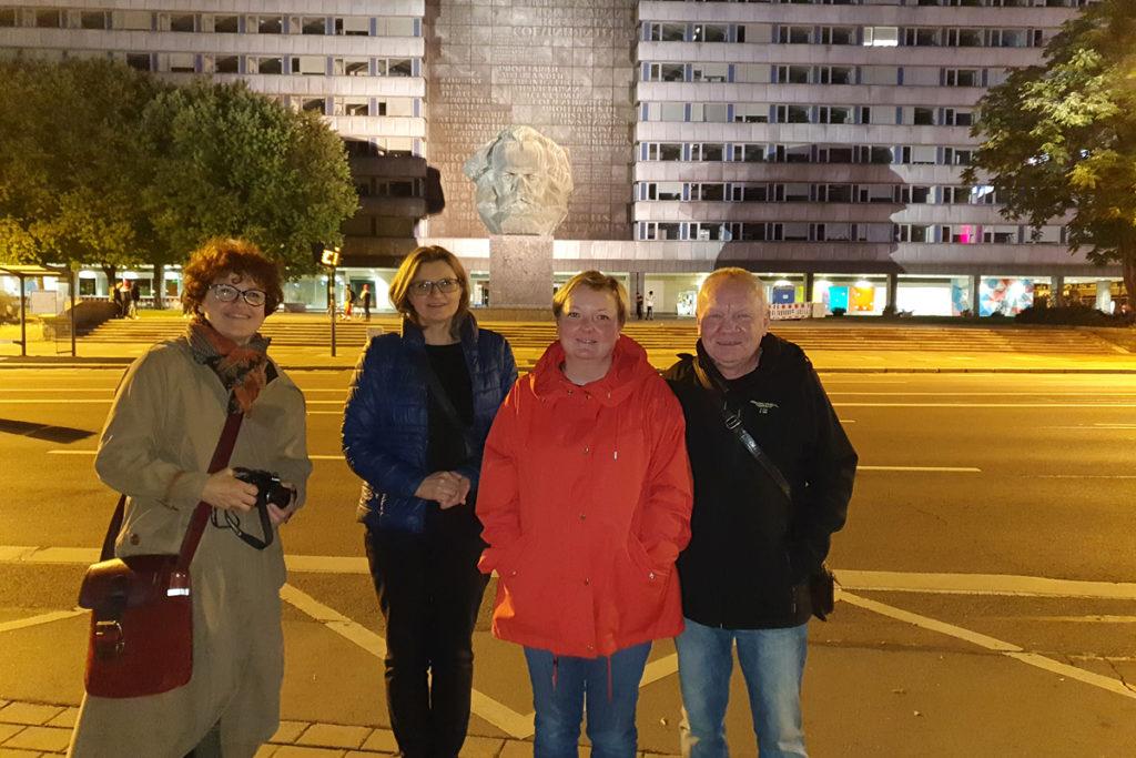 Maria Wartlowska und Frau Ewa Widenska aus unserer polnischen Partnerstadt Łódź mit Barbara und Jörg Illing von der Deutsch-Polnischen Gesellschaft.